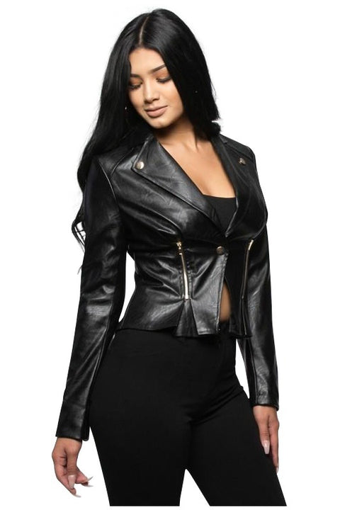 Berlyn Faux Leather Moto Jacket - Jackets - Marsia