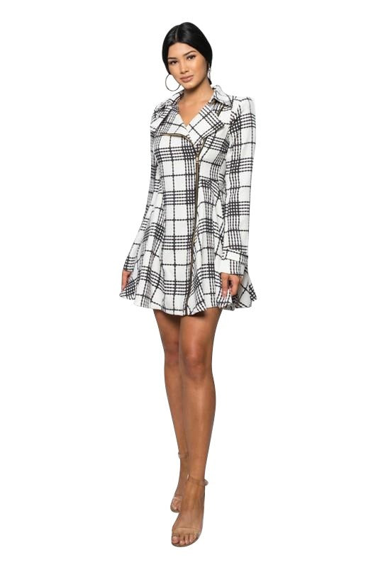 Elexis Plaid Coat Dress - Jackets - Marsia