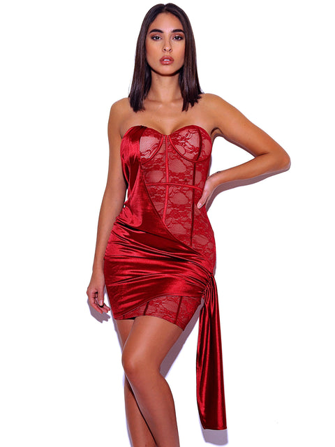 Lily Strapless Lace Satin Drape Dress - Dress - Marsia