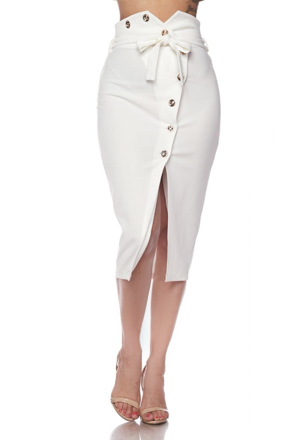 Qara High Waisted Button Skirt - Skirts - Marsia