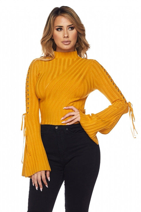 Alysah Ribbed Bell Sleeves Top