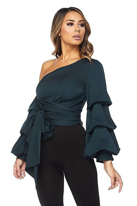 Leona One Shoulder Ruffle Sleeve Top - Tops - Marsia