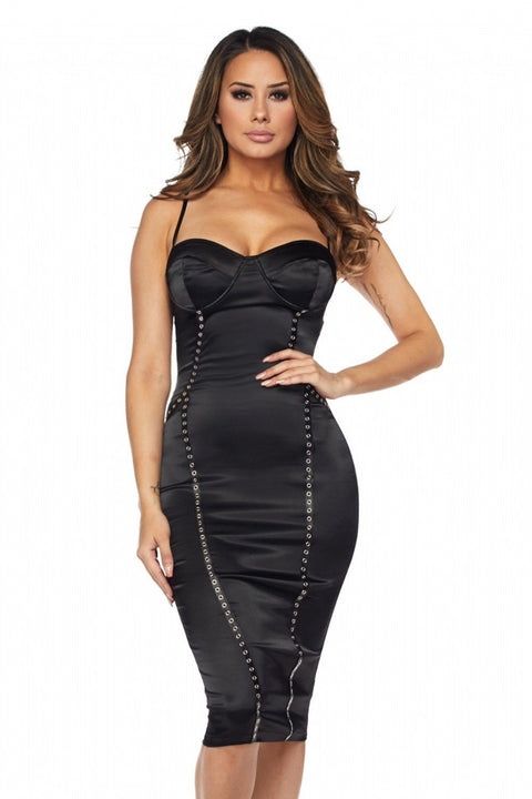 Amanda Black Satin Dress - Dress - Marsia