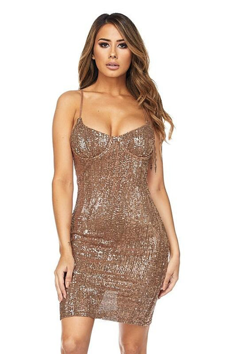 Analise Rose Gold Sequins Dress
