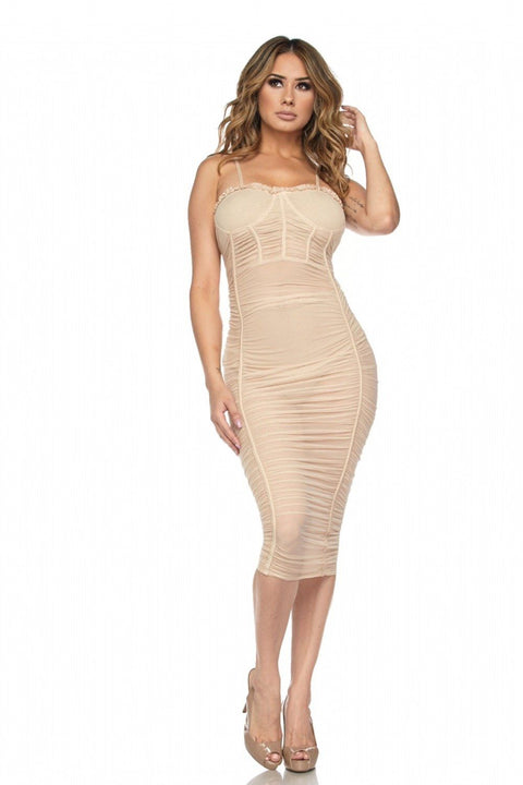 Soleil Mesh Ruched Dress - Dress - Marsia