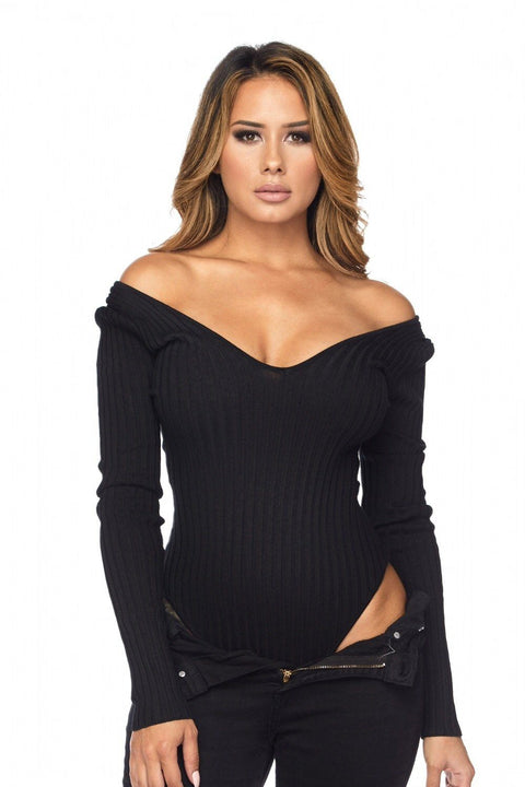 Kiera Off The Shoulder Ribbed Bodysuit - Bodysuits - Marsia