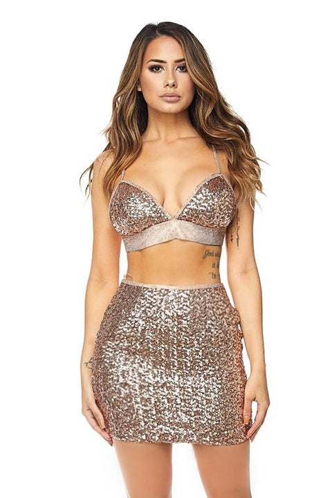 Tamara Rose Gold Sequins Set