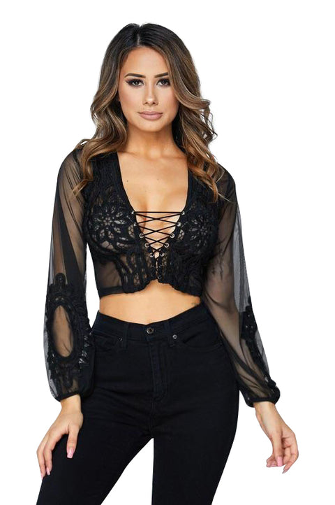 Lace Up Mesh Crop Top - Tops - Marsia