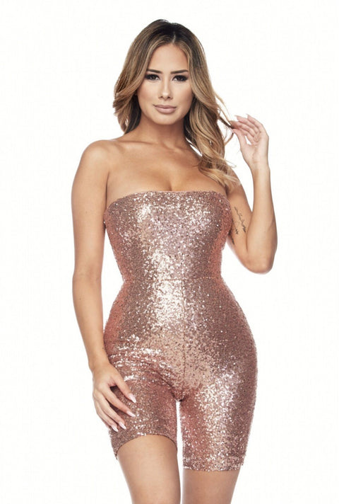 Rose Gold Tamara Strapless Romper