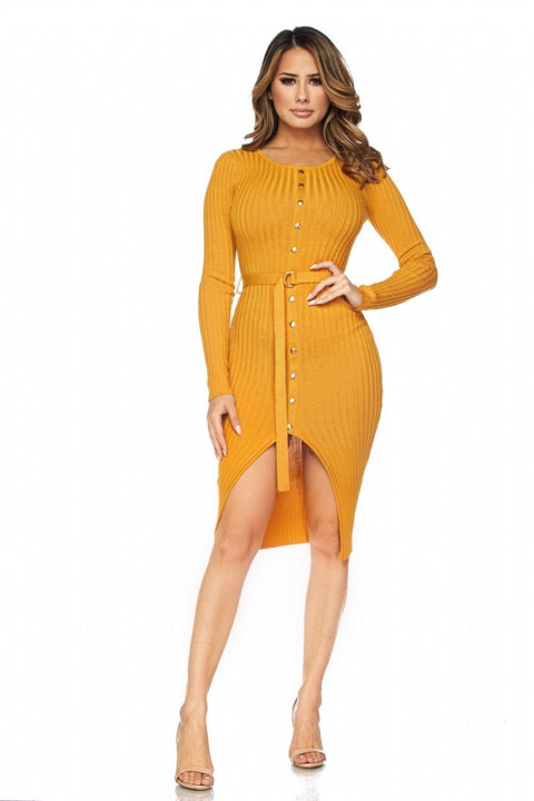 Mustard Mariah Grommet Detail Dress with Belt - Dress - Marsia