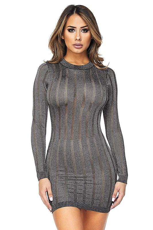 Solaina Metallic Stripe Dress