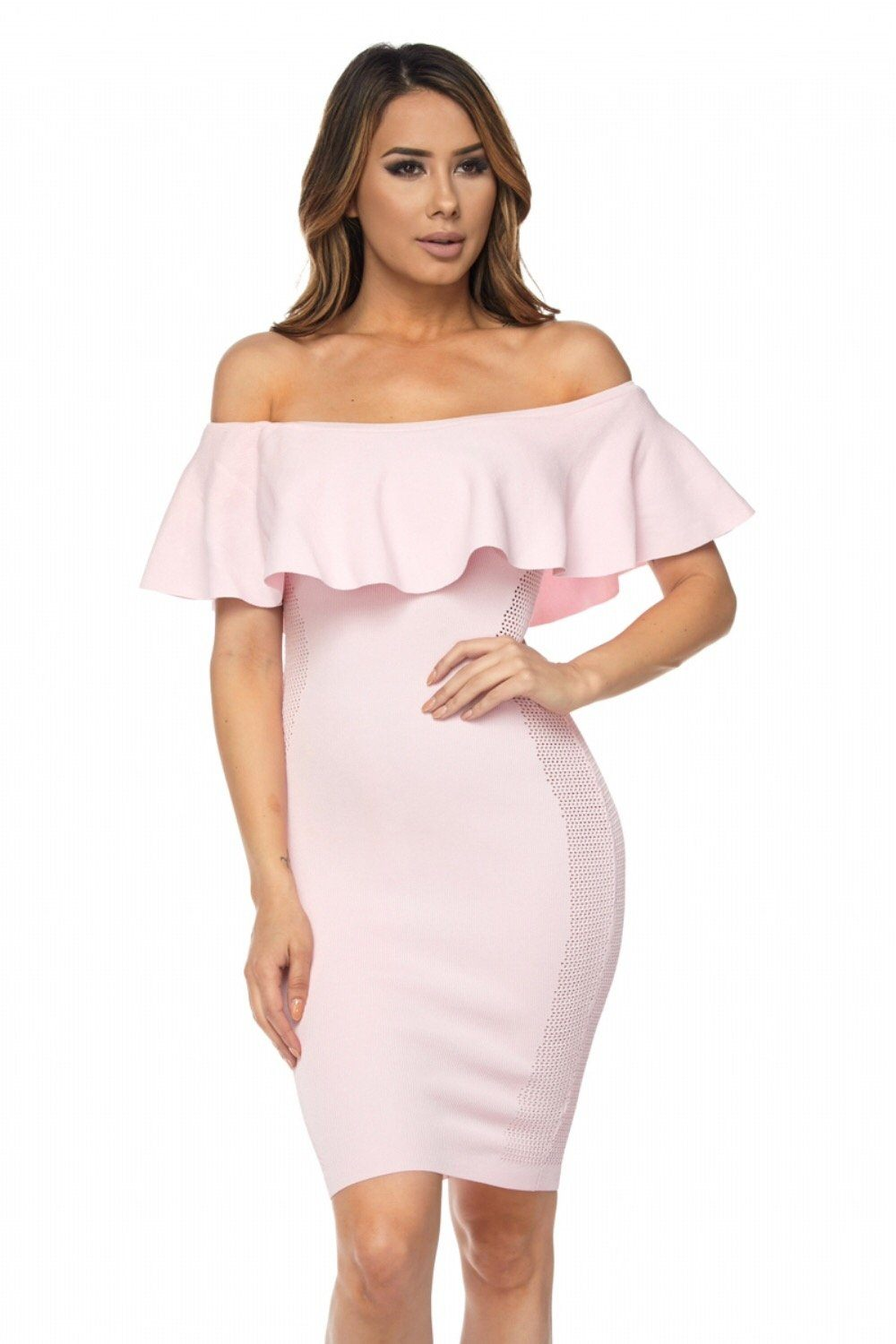 Kaleesi Side Mesh Ruffle Dress - Dress - Marsia