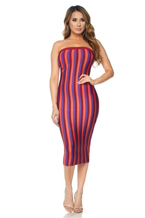 Sunset Striped Bandage Dress - Dress - Marsia