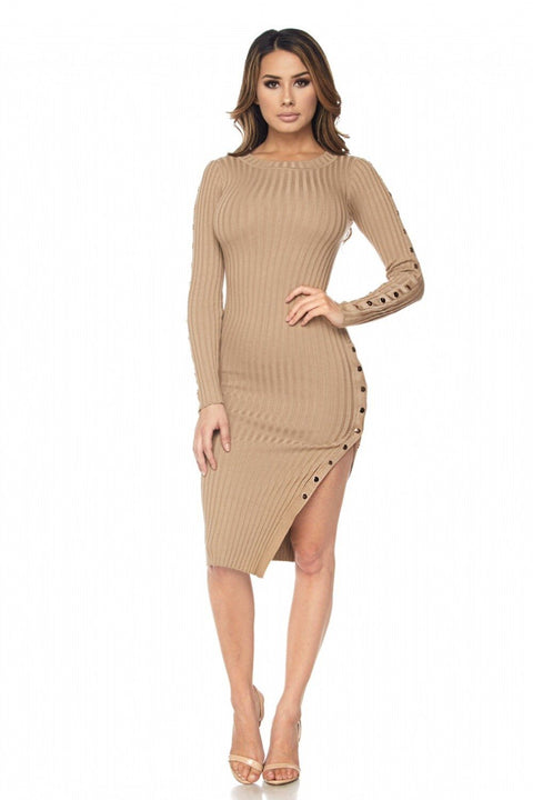 Aura Long Sleeve Gold Button Dress - Dress - Marsia