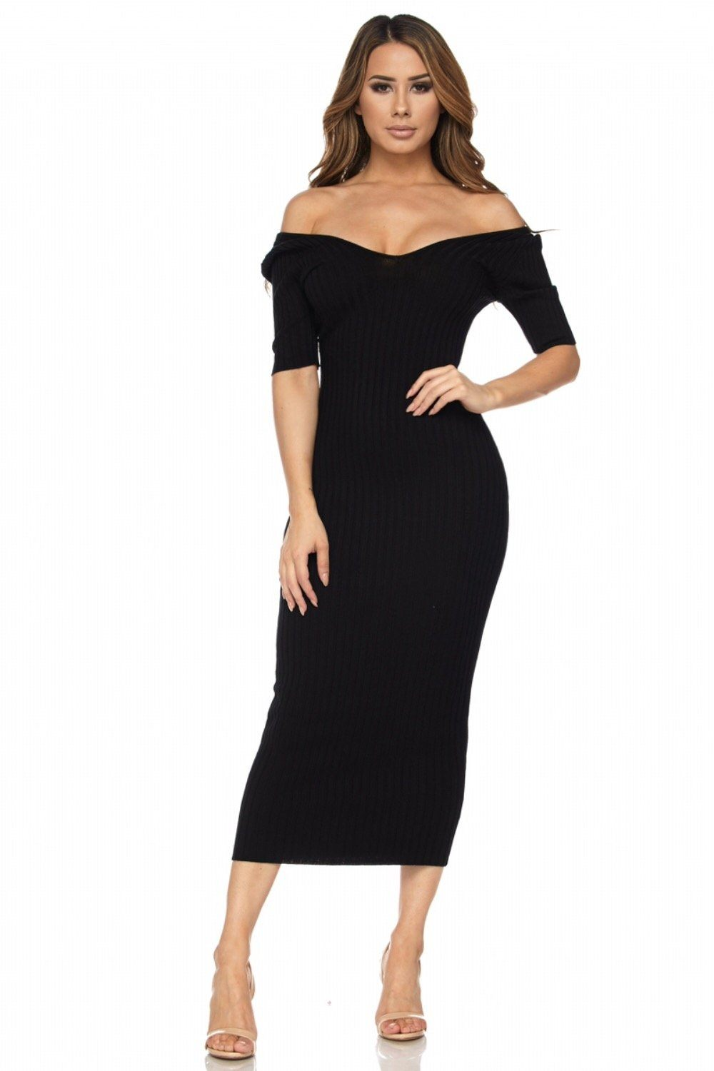 Khloe Half Sleeve Off The Shoulder Ribbed Midi Dress