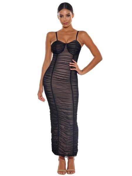 Elisha Black Mesh Ruched Dress