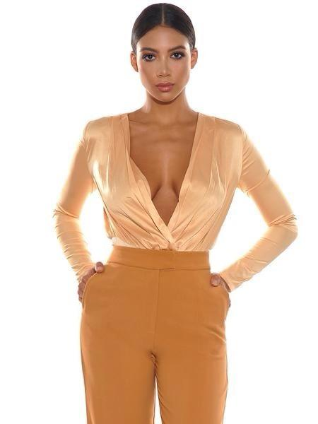 Glenda Honey Satin Cross Over Bodysuit - Bodysuits - Marsia