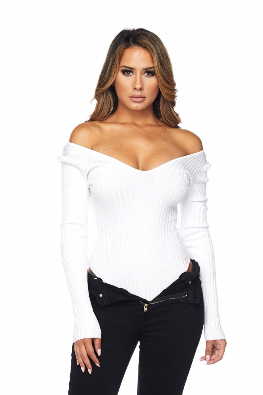 White Kiera Off The Shoulder Ribbed Bodysuit