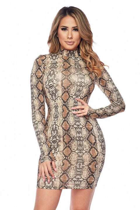 Chi Snake Print Turtleneck Dress