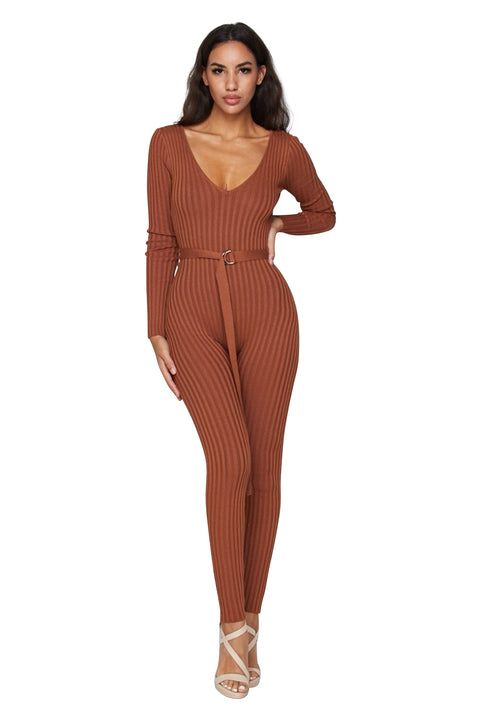Rust Kenny Ribbed Jumpsuit - Jumpsuits - Marsia