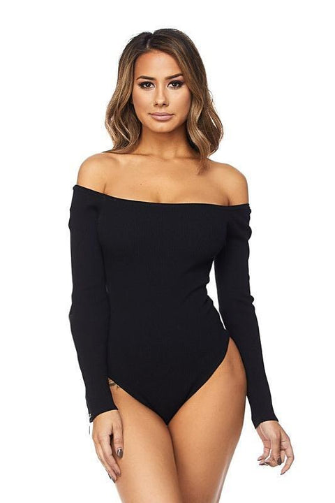 Leyla Off The Shoulder Knitted Bodysuit with Zipper Details - Bodysuits - Marsia