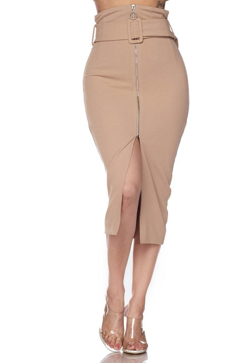 Candace High Waisted Belted Skirt Nude