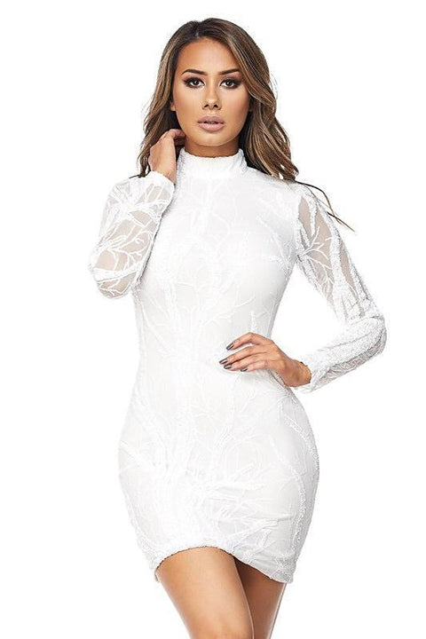 Ava White Sequins Dress - Dress - Marsia