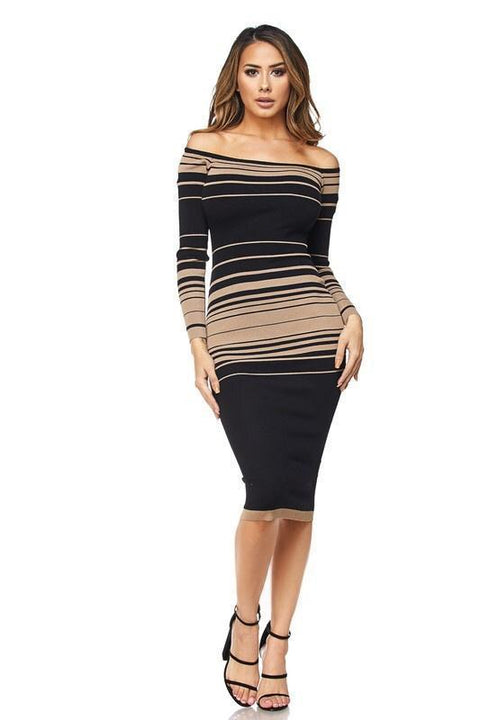 Celeste Stripe Off The Shoulder Dress - Dress - Marsia