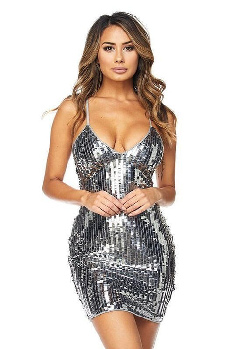 Harlee Silver Mirror Sequins Dress - Dress - Marsia