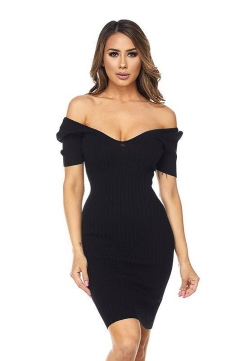 Kenya Mini Ribbed Sweater Dress - Dress - Marsia