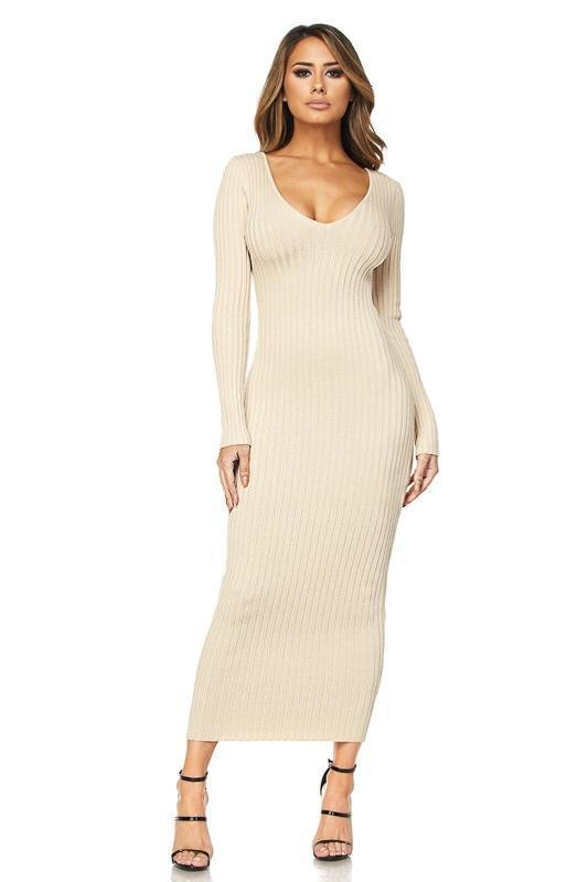 Kenya Ribbed Sweater Dress - Dress - Marsia b35120439
