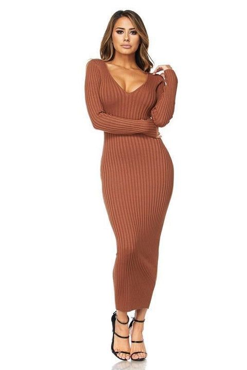Kenya Ribbed Sweater Midi Dress - Dress - Marsia
