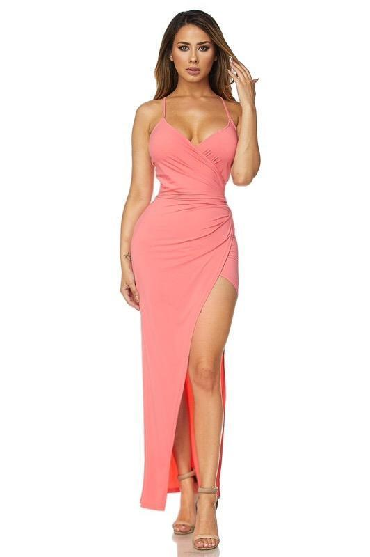 Leia Wrapped Slit Dress - Dress - Marsia