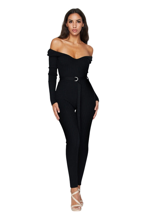 Black Kenny Ribbed Jumpsuit - Jumpsuits - Marsia
