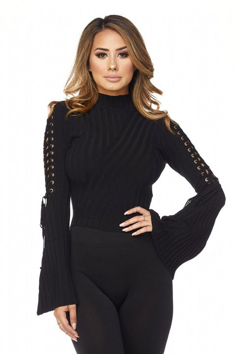 Black Alysah Ribbed Bell Sleeves Top