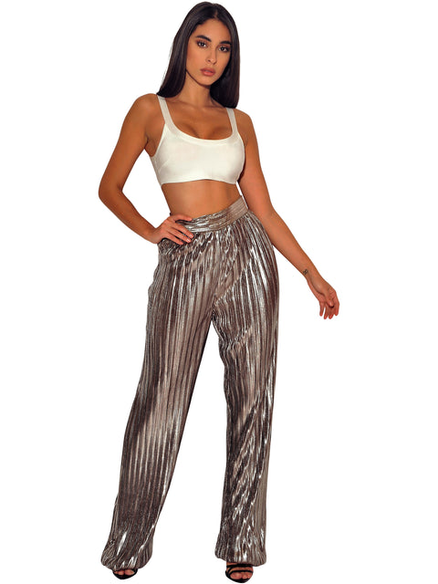 Veronique High Waisted Metallic Pants - Pants - Marsia