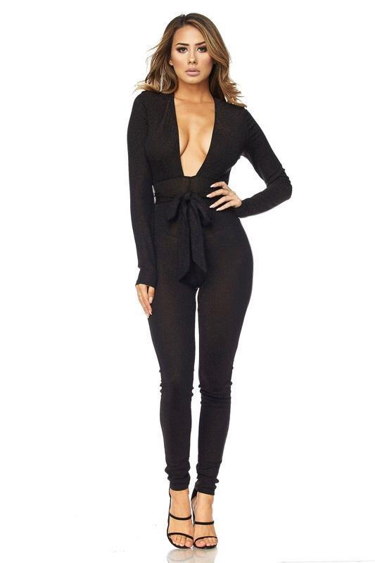 Madelyn Glitter Deep V-Cut Jumpsuit - Jumpsuits - Marsia