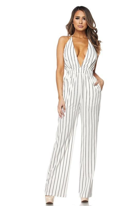 Sasha Striped Halter Jumpsuit - Jumpsuits - Marsia