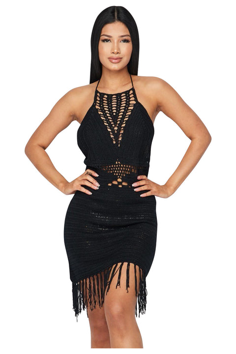 Tasha Fringe Crochet Halter Dress