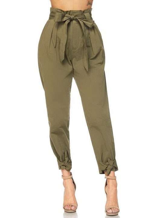 Liam High Waisted Tie Pants - Pants - Marsia