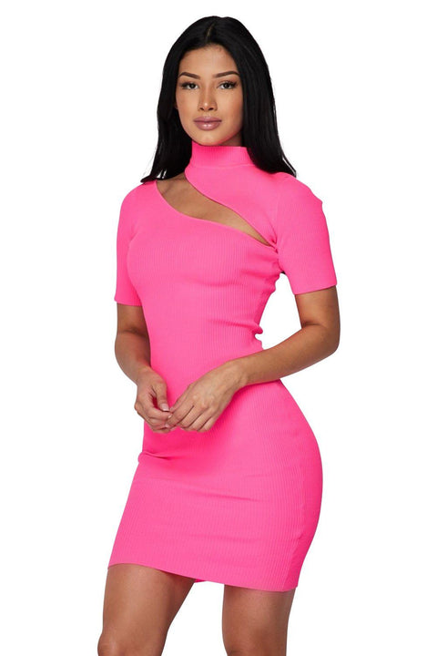 Les Lee Knitted Mock Neck Slash Dress - Dress - Marsia