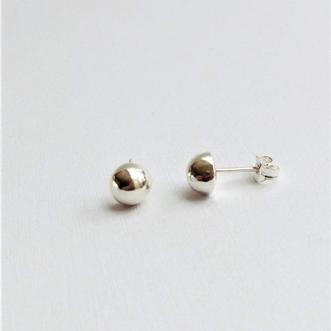 Dome earrings (Silver or Gold plated, Pair or Single)
