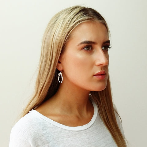 Beetle horn earrings (silver)