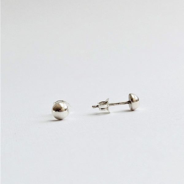 Tiny Dome earrings (Silver or Gold plated, Pair or Single)