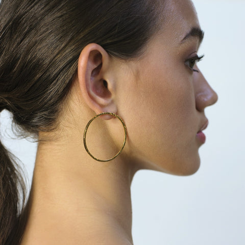 Large LOOP earrings (gold plated) - Hammered or Plain