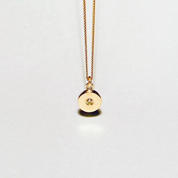 NEW Circle necklace with a diamond (9 ct gold or silver)