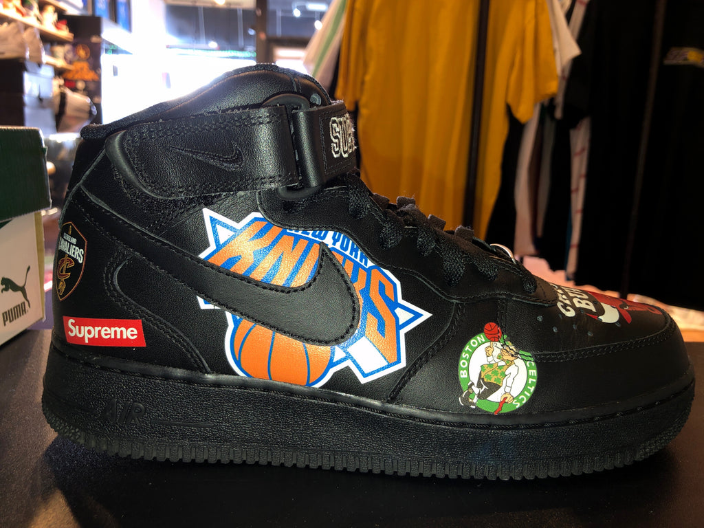 "Size 8.5 Air Force 1 Mid Supreme ""NBA Black"""