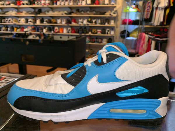 "Size 11.5 Air Max 90 Leather ""White/Black/Blue"""