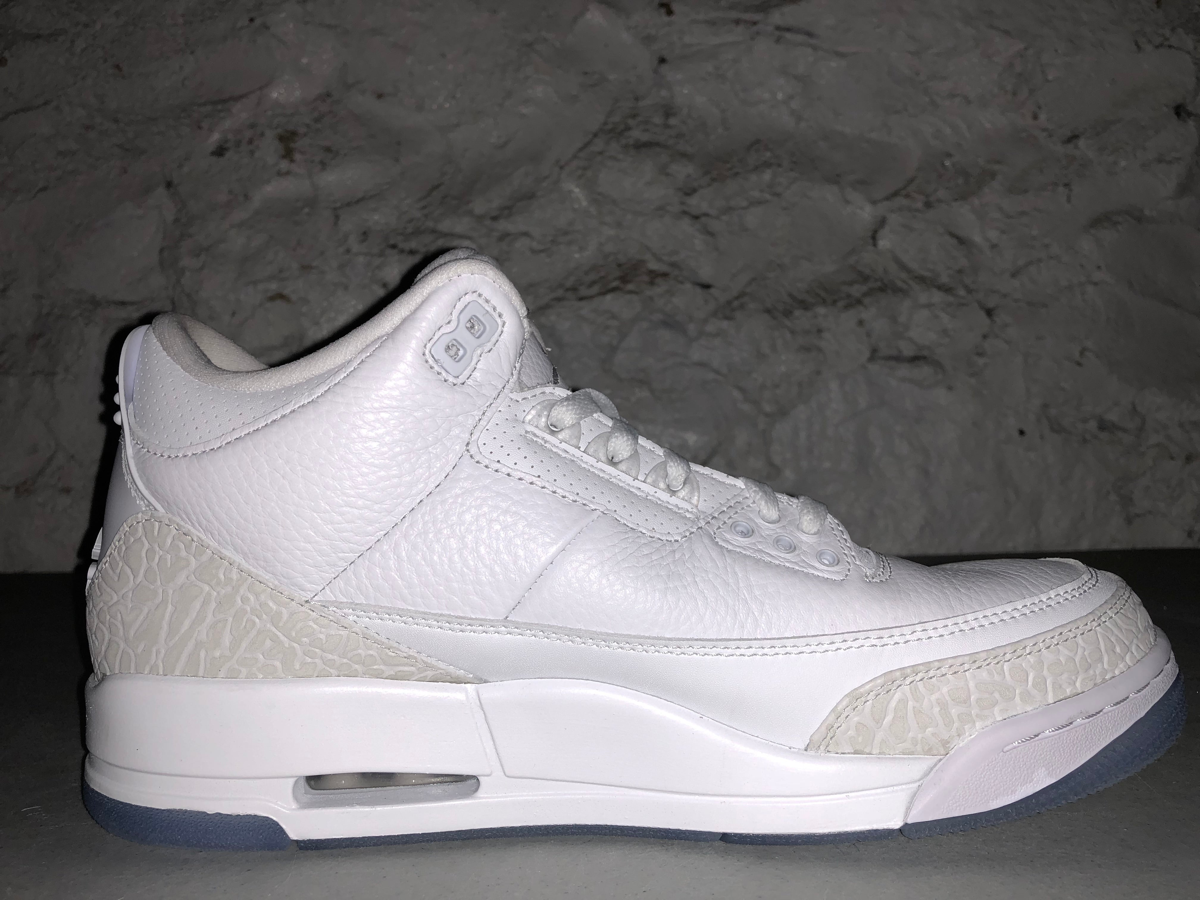 "Size 10.5 Air Jordan 3 ""Pure White"" Brand New"