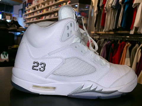 "Size 11 Air Jordan 5 ""White Metallic"""